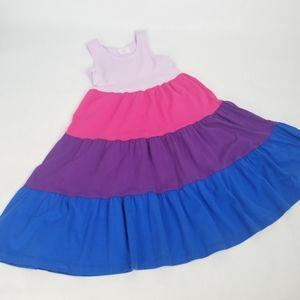 Hanna Andersson Tiered Stripe Twirl Tank Dress 130